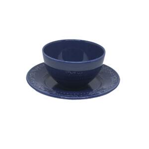 Prato Sobremesa Acanthus Deep Blue e Bowl