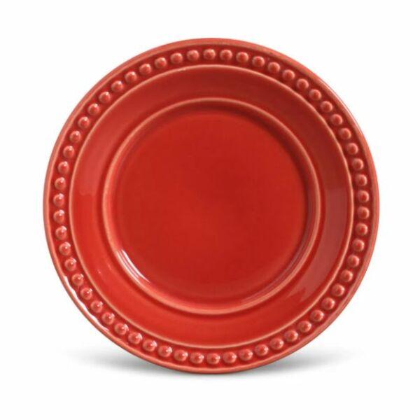 Prato Sobremesa Atenas Vermelho 26cm